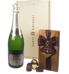 Lanson Vintage Champagne and Chocolates Birthday Gift Box