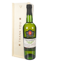 Taylors Chip Dry White Port Thank You Gift In Wooden Box