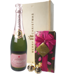 Lanson Rose Christmas Champagne and Chocolates Gift Box