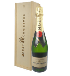 Moet et Chandon Champagne Single Bottle Christmas Gift In Wooden Box