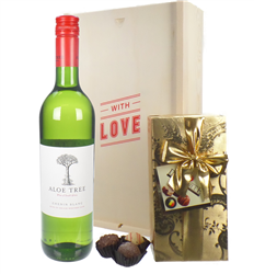 South African White Wine Valentines Wine and Chocolate Gift Box