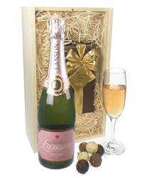 Lanson Rose Champagne & Belgian Chocolates Gift Box