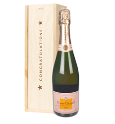 Veuve Clicquot Rose Champagne Congratulations Gift In Wooden Box