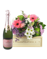 Rose Champagne And Flowers Congratulations Gift