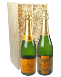 Veuve Clicquot NV & Vintage Two Bottle Champagne Gift in Wooden Box