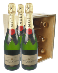 Moet & Chandon Champagne Six Bottle Wooden Crate