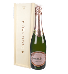 Perrier Jouet Rose Champagne Thank You Gift In Wooden Box