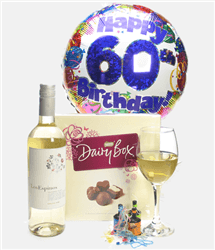 60th Birthday White Wine And Chocolates