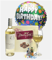 White Wine And Chocolates Birthday Gift