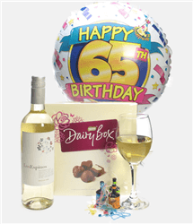 65th Birthday White Wine And Chocolates Gift