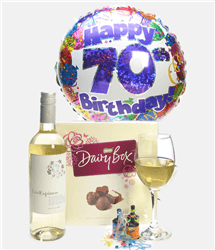 70th Birthday White Wine And Chocolates Gift