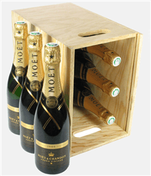 Moet Vintage Champagne Six Bottle Wooden Crate