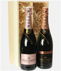 Moet Rose Two Bottle Champagne Gift in Wooden Box