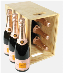Veuve Clicquot Rose Champagne Six Bottle Wooden Crate