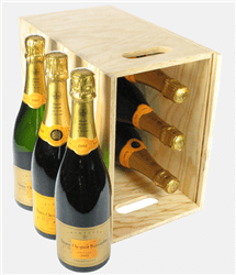 Veuve Clicquot NV and Veuve Vintage Champagne Six Bottle Wooden Crate