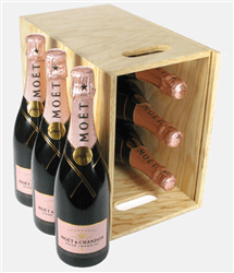 Moet et Chandon Rose Champagne Six Bottle Wooden Crate