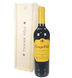 Rioja Tempranillo Red Wine Thank You Gift In Wooden Box