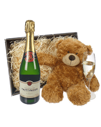 Taittinger Champagne and Teddy Bear Gift Basket