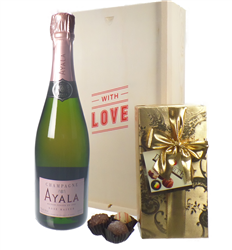 Ayala Rose Valentines Champagne and Chocolates Gift Box