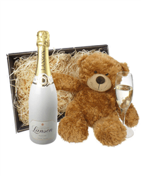 Lanson White Label Champagne and Teddy Bear Gift Basket