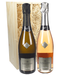 Langlois Sparkling Two Bottle Wine Gift in Wooden Box