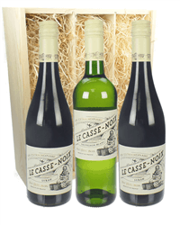 French Languedoc Mixed Three Bottle Wine Gift in Wooden Box