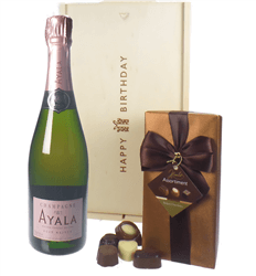 Ayala Rose Champagne and Chocolates Birthday Gift Box