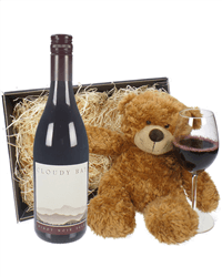 Cloudy Bay Pinot Noir Red Wine and Teddy Bear Gift Basket