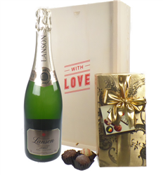 Lanson Vintage Valentines Champagne and Chocolates Gift Box