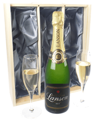 Lanson Champagne Gift Set With Flute Glasses