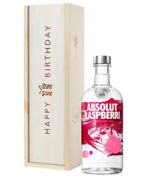 Absolut Raspberry Vodka Birthday Gift In Wooden Box