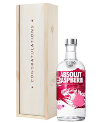 Absolut Raspberry Vodka Congratulations Gift In Wooden Box