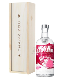 Absolut Raspberry Vodka Thank You Gift In Wooden Box