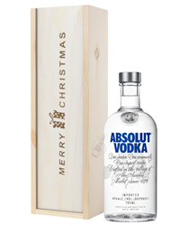 Absolut Vodka Christmas Gift In Wooden Box