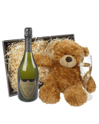 Dom Perignon Champagne and Teddy Bear Gift Basket