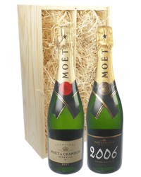 Moet NV and Vintage Two Bottle Champagne Gift in Wooden Box