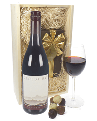 Cloudy Bay Pinot Noir Wine and Chocolates Gift Set in Wooden Box