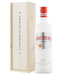Archers Peach Schnapps Congratulations Gift In Wooden Box