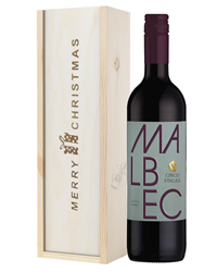 Argentinian Malbec Red Wine Single Bottle Christmas Gift In Wooden Box