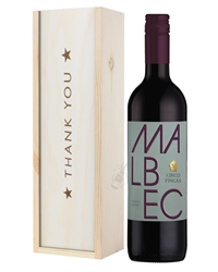 Argentinian Malbec Red Wine Thank You Gift In Wooden Box
