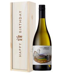 Australian Chardonnay White Wine Birthday Gift In Wooden Box