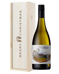 Australian Chardonnay White Wine Single Bottle Christmas Gift In Wooden Box