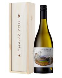Australian Chardonnay White Wine Thank You Gift In Wooden Box