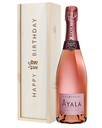 Ayala Rose Champagne Birthday Gift In Wooden Box