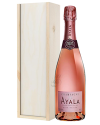 Ayala Rose Champagne Gift in Wooden Box
