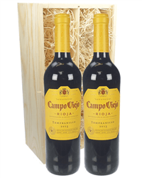 Rioja Two Bottle Wine Gift in Wooden Box