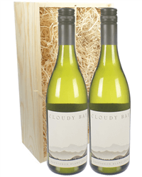 Cloudy Bay Sauvignon Blanc Two Bottle Wine Gift in Wooden Box
