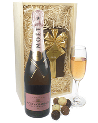 Moet & Chandon Rose Champagne & Belgian Chocolates Gift Box