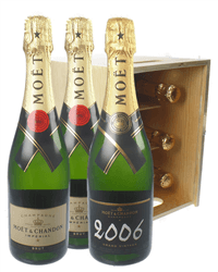 Moet NV and Moet Vintage Champagne Six Bottle Wooden Crate