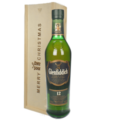 Glenfiddich 12 Year Old Single Malt Whisky Christmas Gift In Wooden Box